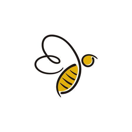 Logotipo de abeja con estilo de línea simple de color negro y amarillo. Logos