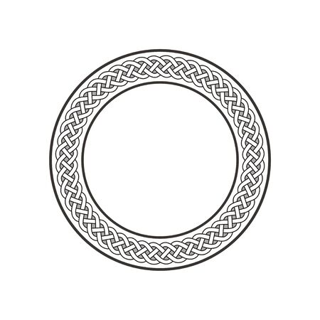 Circle celtic knot meander art vector