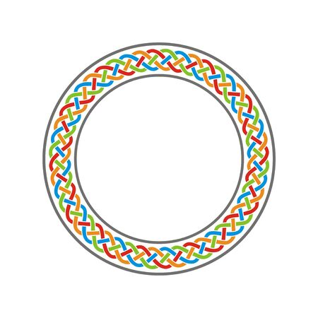 Color circle celtic knot meander art vector
