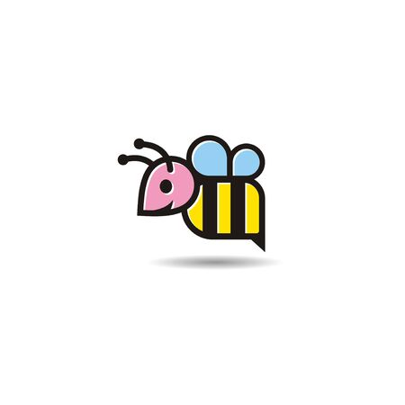 Colored Bee Logo Vector