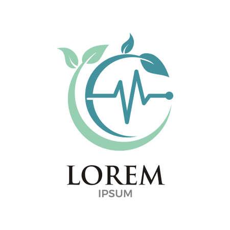 vector illustration of leaves and pulse for medical logo design