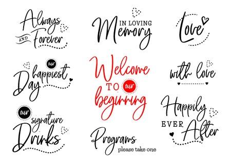 Willkommen zu unserer Hochzeitsbeschriftung Vektorgrafik