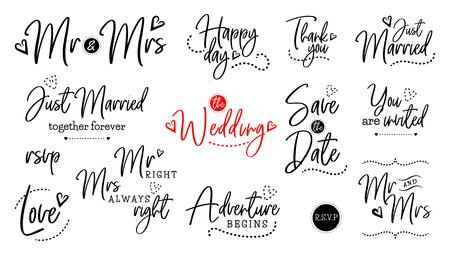 Hochzeit Vektor Zitat Skript Schriftzug Set. Ehephrase für Braut und Bräutigam. Herr und Frau, gerade verheiratet, für immer zusammen, rsvp, Liebe, glücklicher Tag, Abenteuer beginnt, danke, speichern Sie das Datum, Sie sind eingeladen, Hochzeit