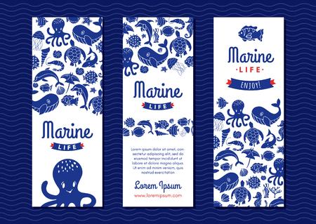 marine life banner Illustration