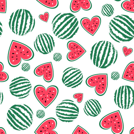 Vector watermelon seamless pattern. Background for summer. Food vector texture. Sliced fruit, red heart of watermelon. Summel wallpaper. Fits for t-shirt print design, bag, textil. Illusztráció