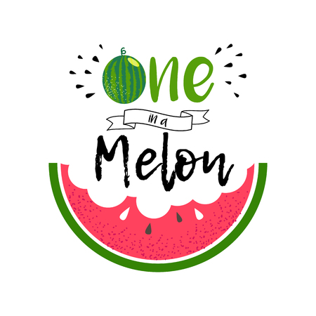 Cute love print with watermelon and lettering You are one in a melon. Summer greeting card design. Green and red watermelon. Vector fruit design for t-shirt. Background with cartoon illustration and quote. 写真素材 - 105137663