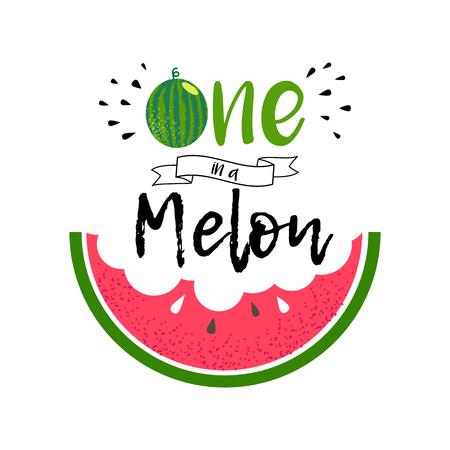 Schattige liefdesprint met watermeloen en belettering You are one in a melon. Zomer wenskaart ontwerp. Groene en rode watermeloen. Vector fruit ontwerp voor t-shirt. Achtergrond met cartoon illustratie en citaat.