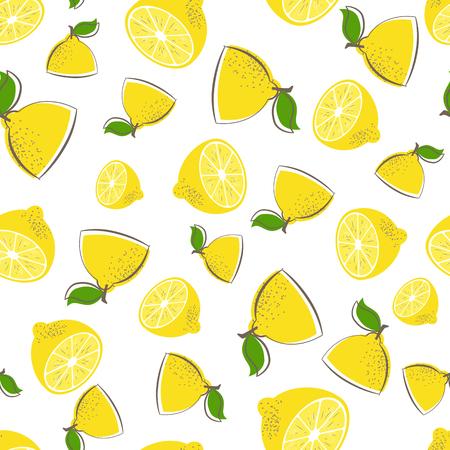 Seamless lemon vector pattern. Fruit vector  background. Tropical repeated print with yellow lemons. Citrus illustration. Fresh lemons for textile.