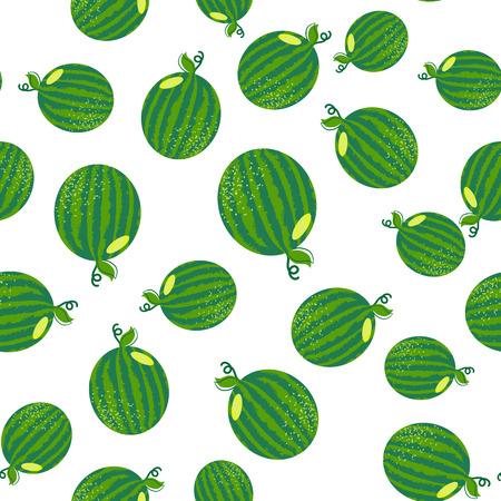 Vector watermelon seamless pattern. Background for summer. Food vector texture. Green watermelon. Summer wallpaper. Fits for t-shirt print design, bag, textil.