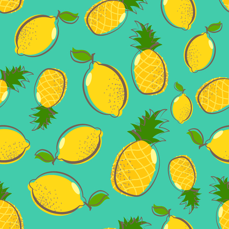 Fresh lemons and pineapple on blue background. Seamless pattern with yellow citrus fruits collection. Summer tropical repeated print. Vector illustration for t-shirt and textile. Bright print for fabric or wallpaper.