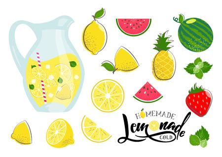 Lemonade vector set. Illustration of  lemon, pitcher with ice cubes and lemon slice, mint, watermelon, pineaple, sliced red melon. Hand written lettering lemonade. Fresh summer fruit drink. Lemon juice.