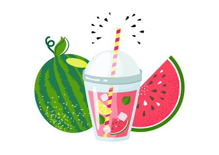 Vector illustration of watermelon lemonade in glass with lemon slice, ice, straw. Watermelon detox smoothie. Plastic cup with healthy drink. Fresh juice.  Summer fruit drink. Cartoon flat design.
