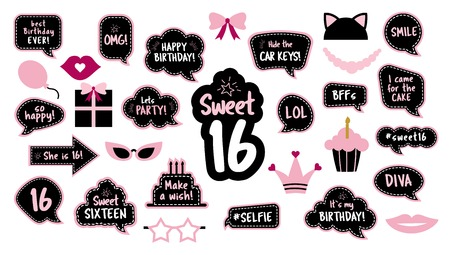 16th birthday photobooth props set for sixteen Vectores