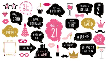 Photo booth props set for finally twenty one 21 birthday. Happy birthday party. Elements: mustache, phrases, glasses, lips, crown, frame, cake for 21th anniversary. Photobooth bubble speech Stock Photo