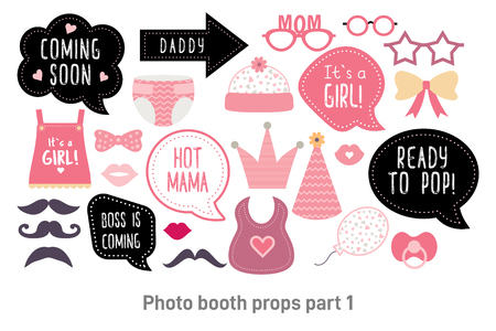 Baby shower photo booth props. Happy birthday party for girl. Pink cards and speech bubble with funny quotes for new born and parents. Vector photobooth set: bottle, nippel, stroller Illustration