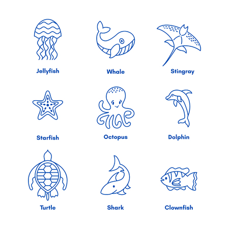 Set of sea or ocean animals icons.Vector illustration, doodle set of elements of marine life. Underwater ocean fauna. Aquatic creatures. Octopus, turtle, seahorse, dolphoin, whale. Illustration