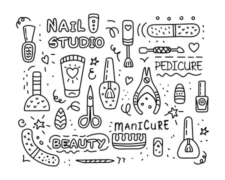 Pedicure and manicure vector icons set. Nail studio, salon. Nail polish symbol, manicure accessories. Foot pedicure studio. Beauty signs for spa. Vector illustration. Illustration