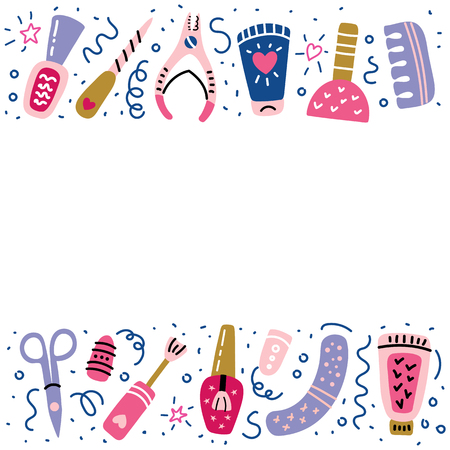 Nail studio banner with place for your text. Manicure salon. Nail polish symbols, manicure accessories. Foot pedicure studio. Beauty banner for spa. Vector illustration.