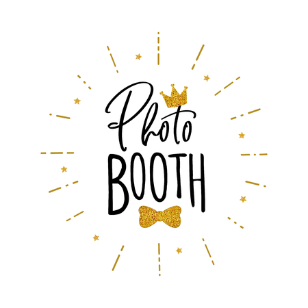 Photo booth lettering. Design in hipster style. Hand drawn words on white background.  Sign for wedding photo booth props. Icon with crown. Фото со стока - 107828251