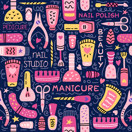 Manicure vector seamless pattern. Nail salon vector logo. Manicure and pedicure studio. Fashion beauty banner for spa with nail polish or lacquer. Doodle illustration with nail manicure accessories. Logo