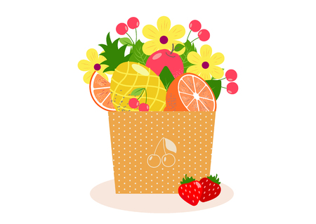 Unusual bouquet with fruits and berries  in a pot or coarse paper. Cherry, strawberries,orange, pineapple, apple. Fresh and sweet summer  fruits carved as flowers. Healthy food.