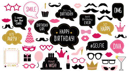 Photo booth props set for birthday party. Happy birthday. Mustache, funny phrases, glasses, lips, crown, cake for anniversary. Bubble speech. Photobooth elements. Illustration
