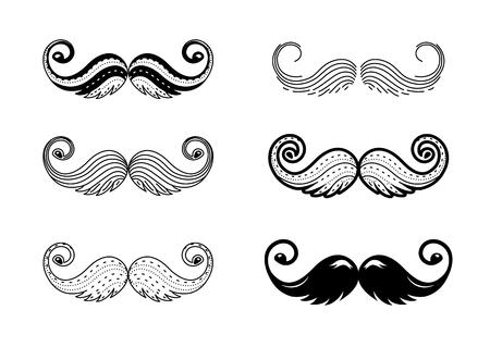Conjunto de iconos de vector de bigote hipster. Apoyos de la cabina de la foto del bigote. Sombrero, gafas, bocadillo. Silueta de vector. Logotipo aislado sobre fondo blanco.