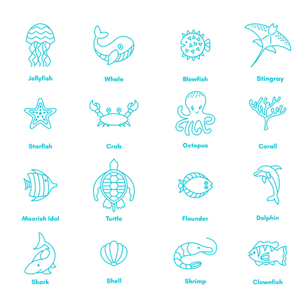 Vector set of sea fauna and animals. Thin line vector icons, blue navy underwater kit. Marine life elements. Ocean under water creatures - whale, dolphin, stingray