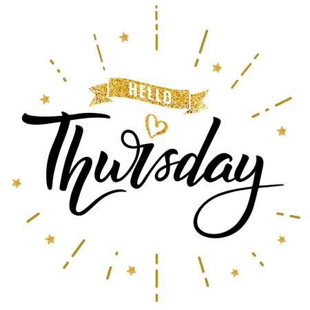 Hello thursday words. Quote design. Hand drawn happy thursday ink lettering. Sticker for social media content. Modern hand drawn brush calligraphy. For poster, post card, video blog cover, background.