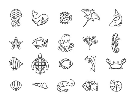 Set of sea or ocean animals icons.Vector illustration, doodle set of elements of marine life. Underwater fauna. Aquatic creatures. Octopus, turtle, seahorse, dolphoin, whale.