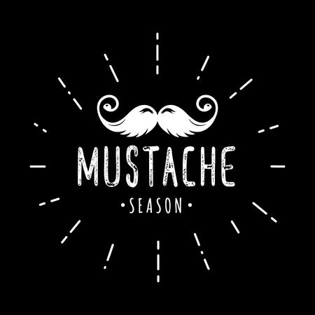 Mustache season. November. Prostate cancer awareness event poster, banner, card, invitation. Vector moustache and hand lettering quote. November men health care month. Ilustração