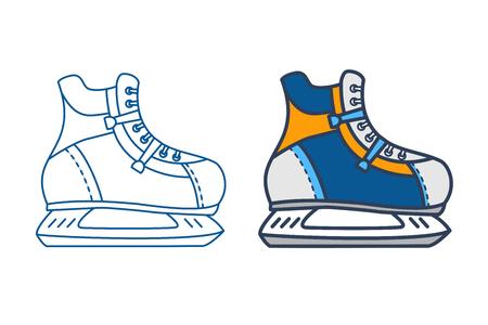 Vector ice hockey skates. Outline skating vector  icon and filled blue skate. Isolated hockey skates on white background. Winter sport equipment design. Ilustração