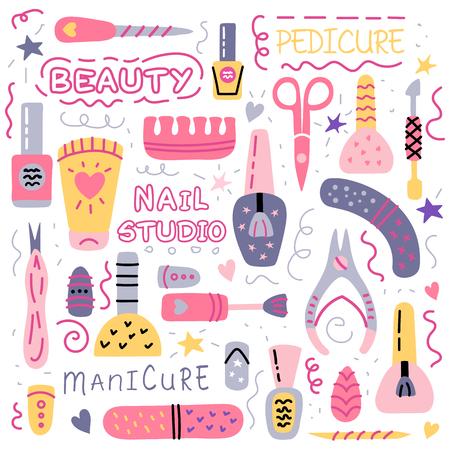 Pedicure and manicure vector icons set. Nail studio, salon. Nail polish symbol, manicure accessories. Foot pedicure studio. Beauty signs for spa. Vector illustration. Vettoriali