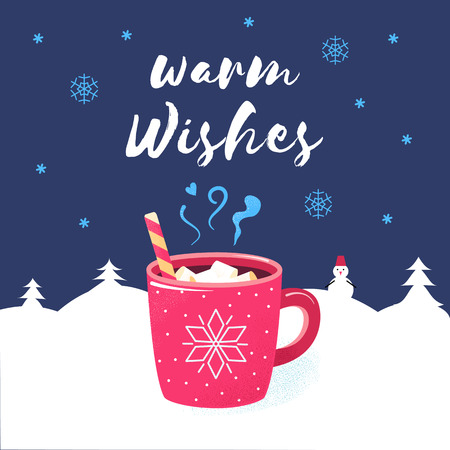 Warm wishes. Merry Christmas season poster. Winter holiday greeting card with red cup of hot chocolate or cocoa and candy. Flat cartoon design. Xmas vector illustration.