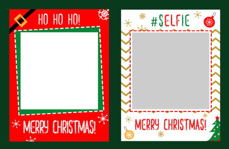 Photo booth props frame for christmas party. Merry christmas celebration. Red and white vector photo frame. Selfie photobooth.
