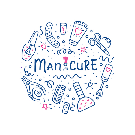 Manicure pedicure circle concept with nail polish symbol, scissors, polish, cream. Lettering  manicure. Nail studio, salon. Beauty banner for spa. Doodle vector illustration.