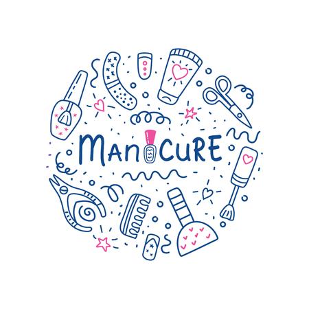 Manicure pedicure circle concept with nail polish symbol, scissors, polish, cream. Lettering  manicure. Nail studio, salon. Beauty banner for spa. Doodle vector illustration. Archivio Fotografico - 120441339