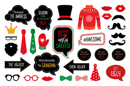 Ugly Christmas sweater party  photo booth props. Merry Christmas and Happy New Year photobooth. Pullover, jumper, mask, mustache, hat, glasses, kiss. Vector set for winter season masquerade.
