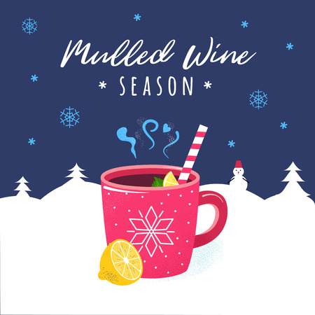 Mulled wine hot winter drink. Flat style illustration with red cup and citrus, lemon. Red mug of hot punch in winter forest. Mulled wine lettering.  Christmas season beverage.
