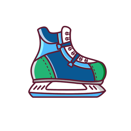 Man ice skate shoe icon or symbol. Ice skating illustration. Winter holiday activity. Illustration with skates shoe silhouette. Healthy winter sport