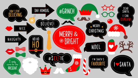 Christmas photo booth props. Santa hat and beard, elf hat, deer, snowman, candy, mustache, lips. Speech bubble merry christmas, believe, grinch, ho ho ho, nice naughty Xmas party photobooth