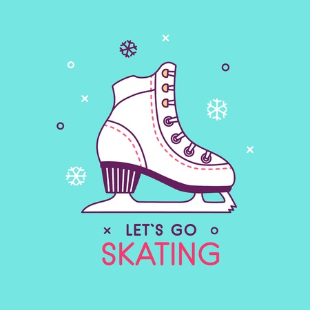 Ice figure skates illustration. Woman ice skates shoe icon or symbol. Winter holiday activity. Christmas card. Illustration with skates shoe silhouette. Healthy winter sport