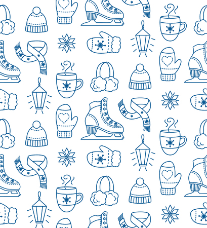 Winter season seamless pattern with ice skates, winter warm clothes and hot drink. Winter vacation pattern.  Hand drawn illustration isolated on white background.