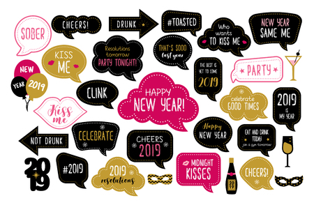 Happy new year 2019 photo booth props. New year eve party. Photobooth vector set for masquerade. Christmas and new year funny quotes on speech bubbles. Cheers, celebrate, kiss me, drunk.