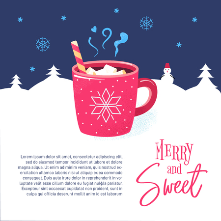 Red mug with hot chocolate, cocoa, marshmallows. Merry and sweet lettering. Hot cup of tasty beverage. Christmas poster, card with text on winter background and snowflakes. Banner for cafe, restaurant. Illusztráció