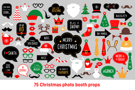 Christmas photo booth props. Merry christmas party . Red and green cards and speech bubble with funny quotes for christmas. Vector photobooth set: Santa and elf hat, beard, deer, snowman, candy, mustache, lips. 向量圖像
