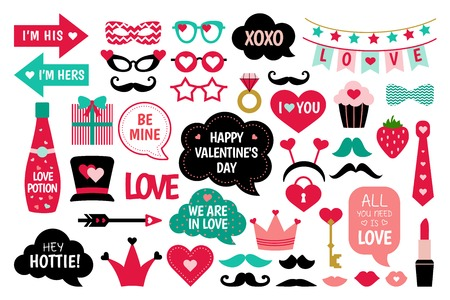 Valentines Day photo booth props vector set. I love you.  Heart, hat, glasses, arrow, lips, funny quotes about love and other elements for photo. Photobooth stickers for valentines celebration.