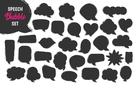 Speech bubble vector set in hand drawn sketch style. Empty black balloons and clouds for comments or discussion. Sticker for price announcement. Collection of square, round, star shapes