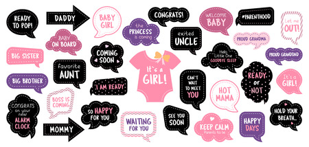 Baby shower photo booth props. Happy birthday party for girl. Pink cards and speech bubbles with funny quotes for new born and parents. Vector photobooth set for pregnancy party.