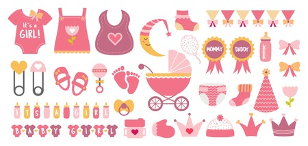Baby shower icon vector set  pastel pink colors 向量圖像